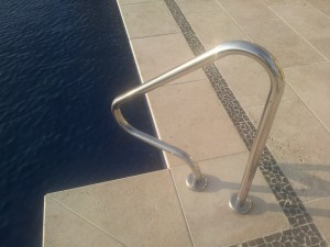 G1 flanged hand rail which aids pool access