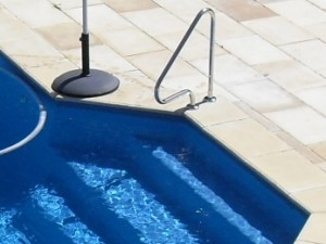 G1 flanged grab rail which aids pool accessibility